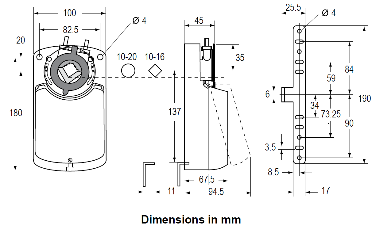 Johnson Controls M9100 - Dimensions