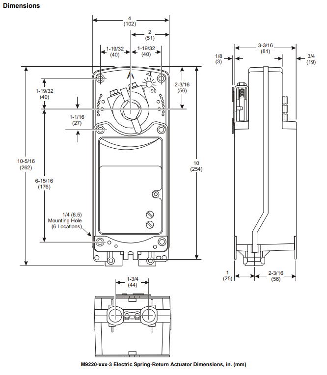 Johnson Controls M9220 - Dimensions