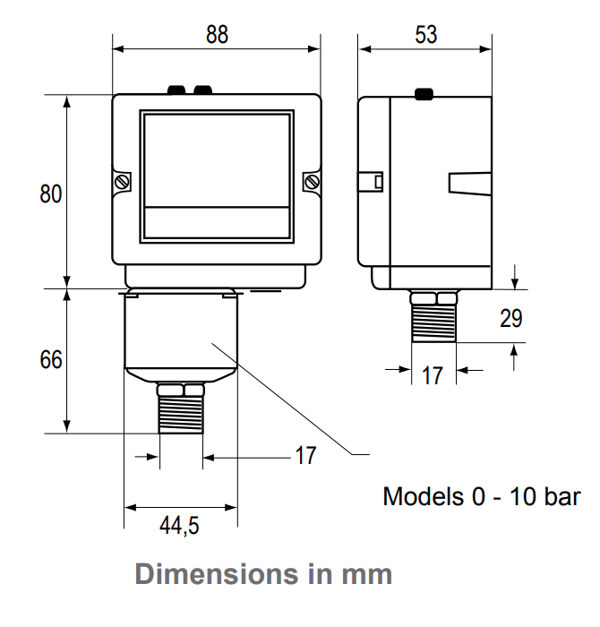 Johnson Controls P48 - Dimensions