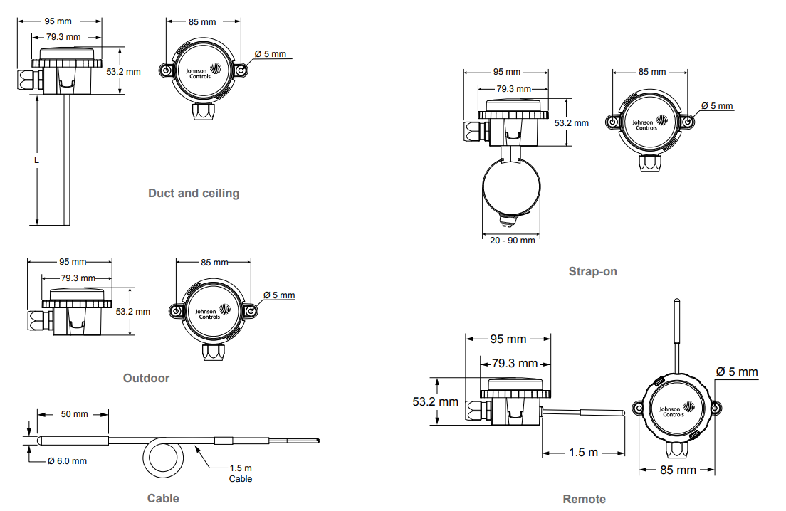 Johnson Controls TS-6300 - Dimensions