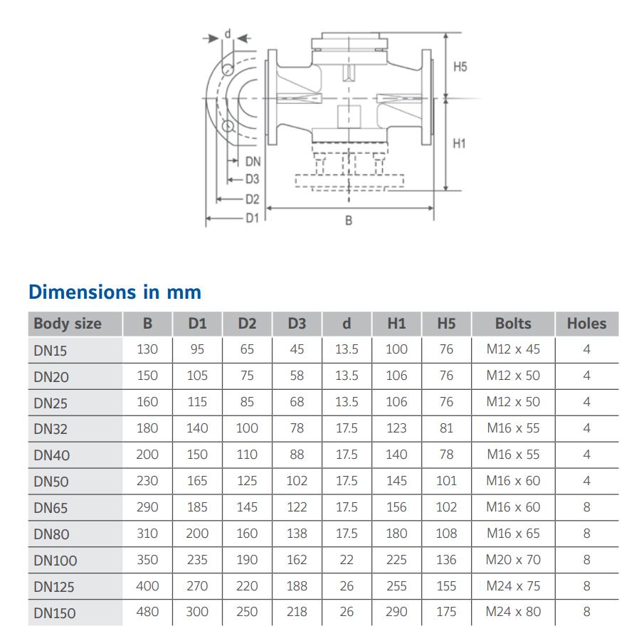 Johnson Control VG8000H - Dimensions
